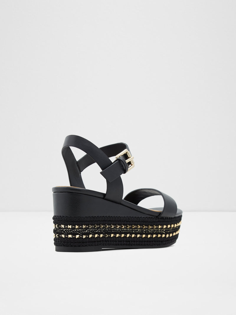 Black Wedge Sandals