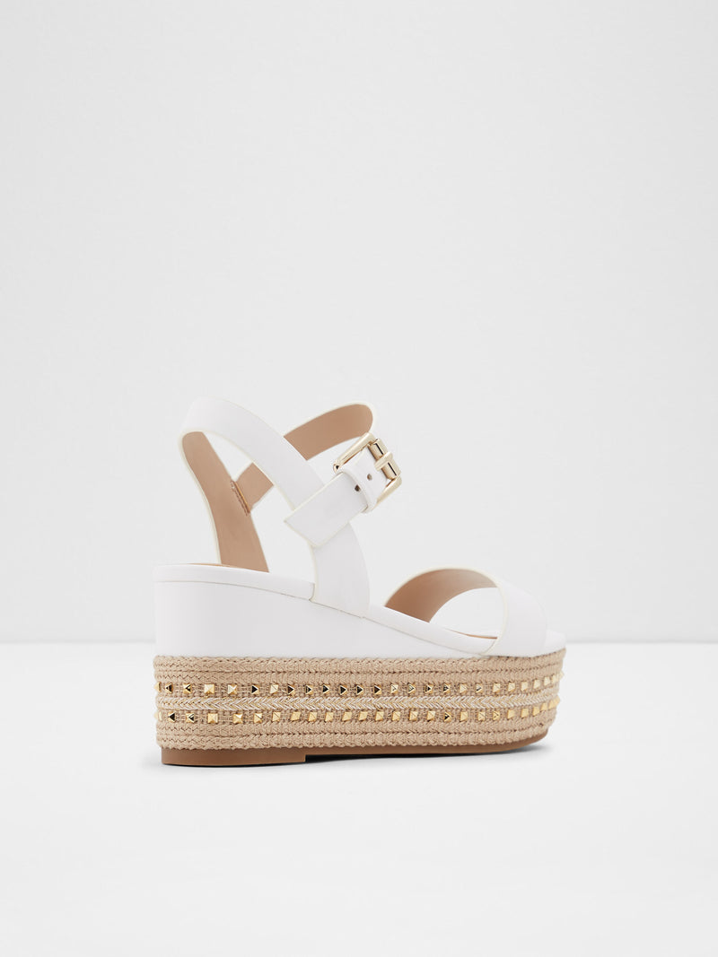 Aldo White Wedge Sandals