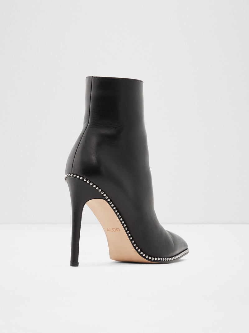 Black Leather Stiletto Ankle Boots