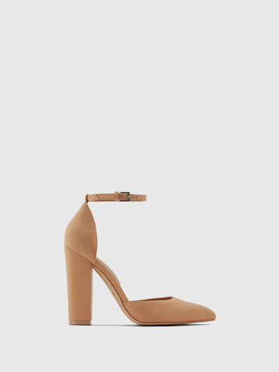 Aldo Brown Ankle Strap Pumps