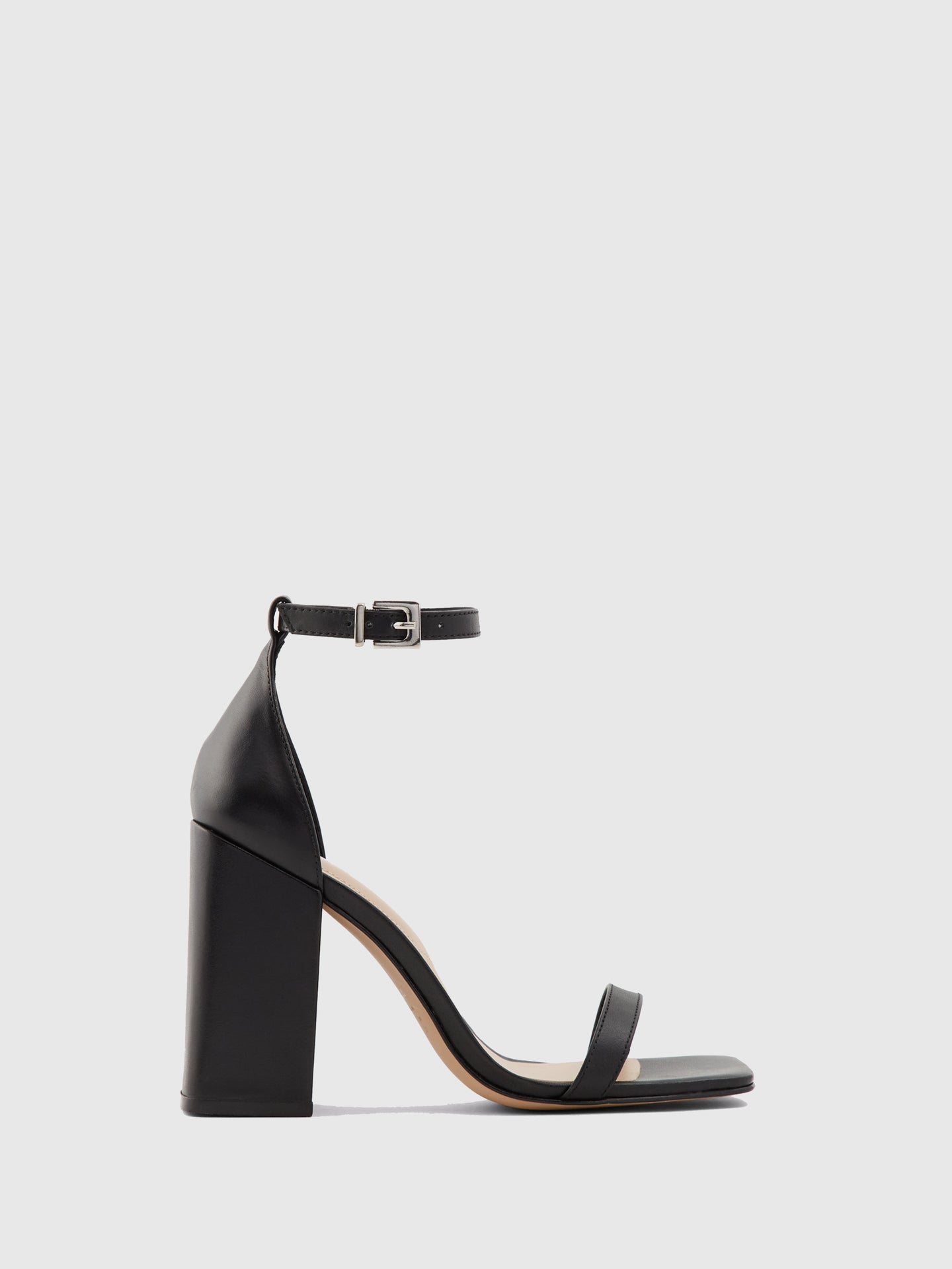 Aldo Black Leather Chunky Heel Sandals