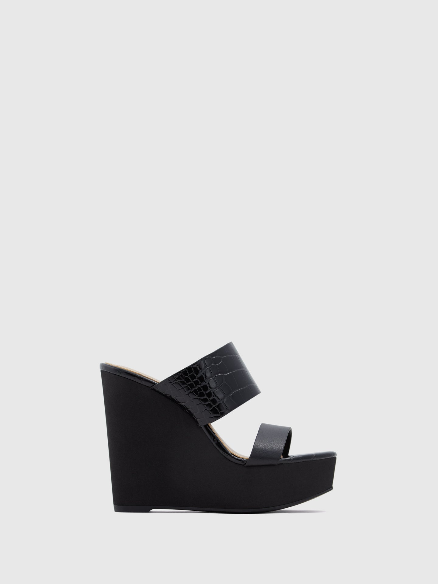 Aldo Black Wedge Sandals