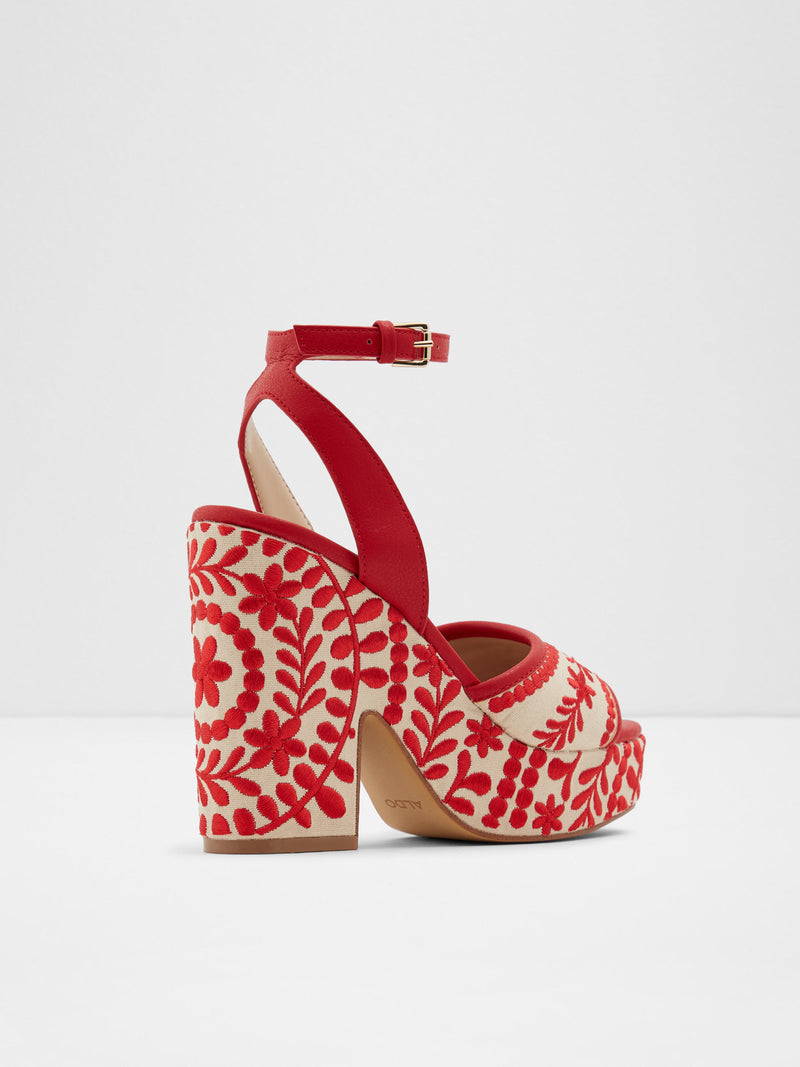 Red Round Toe Sandals