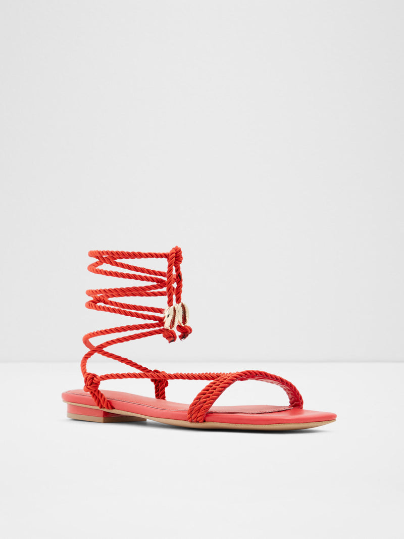 Red Square Toe Sandals
