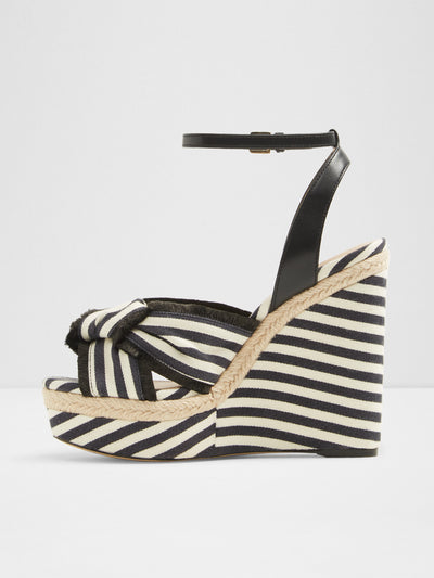 Aldo Black White Wedge Sandals