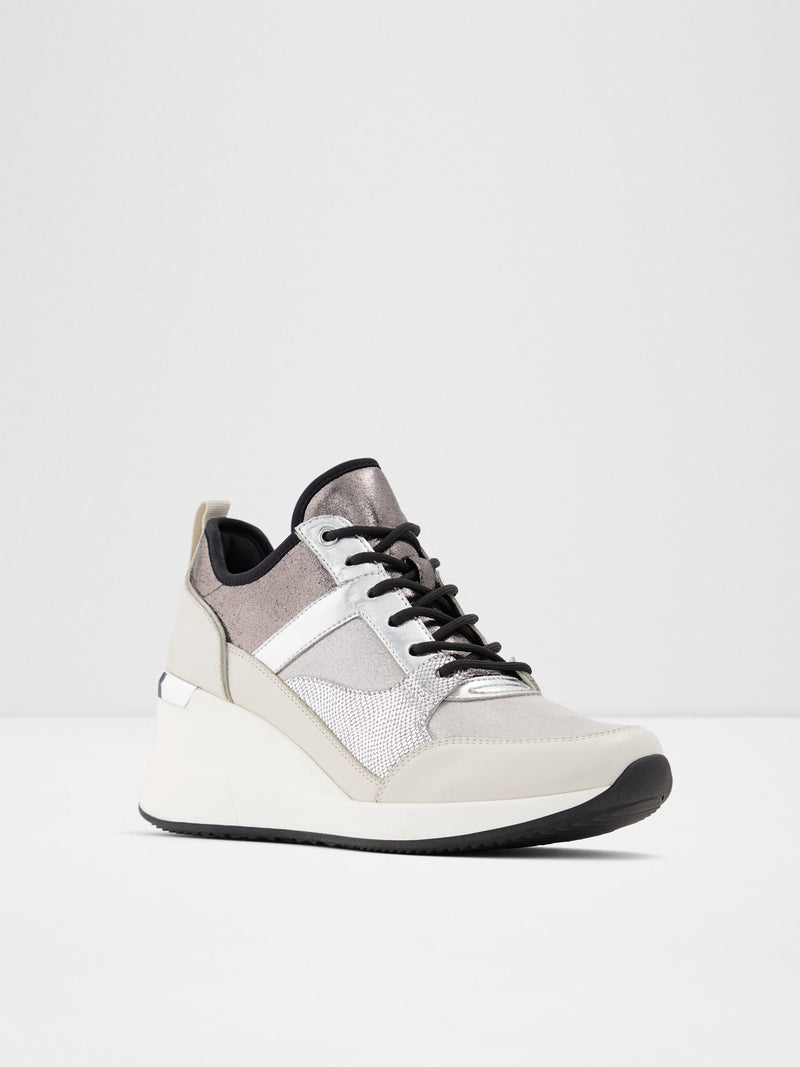 Aldo Gray White Wedge Trainers