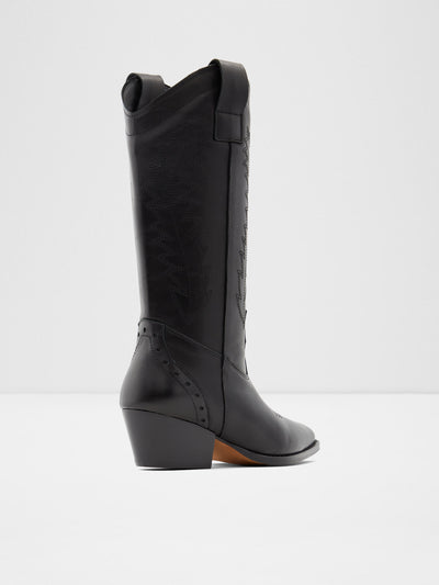 Aldo Black Leather Cowboy Boots