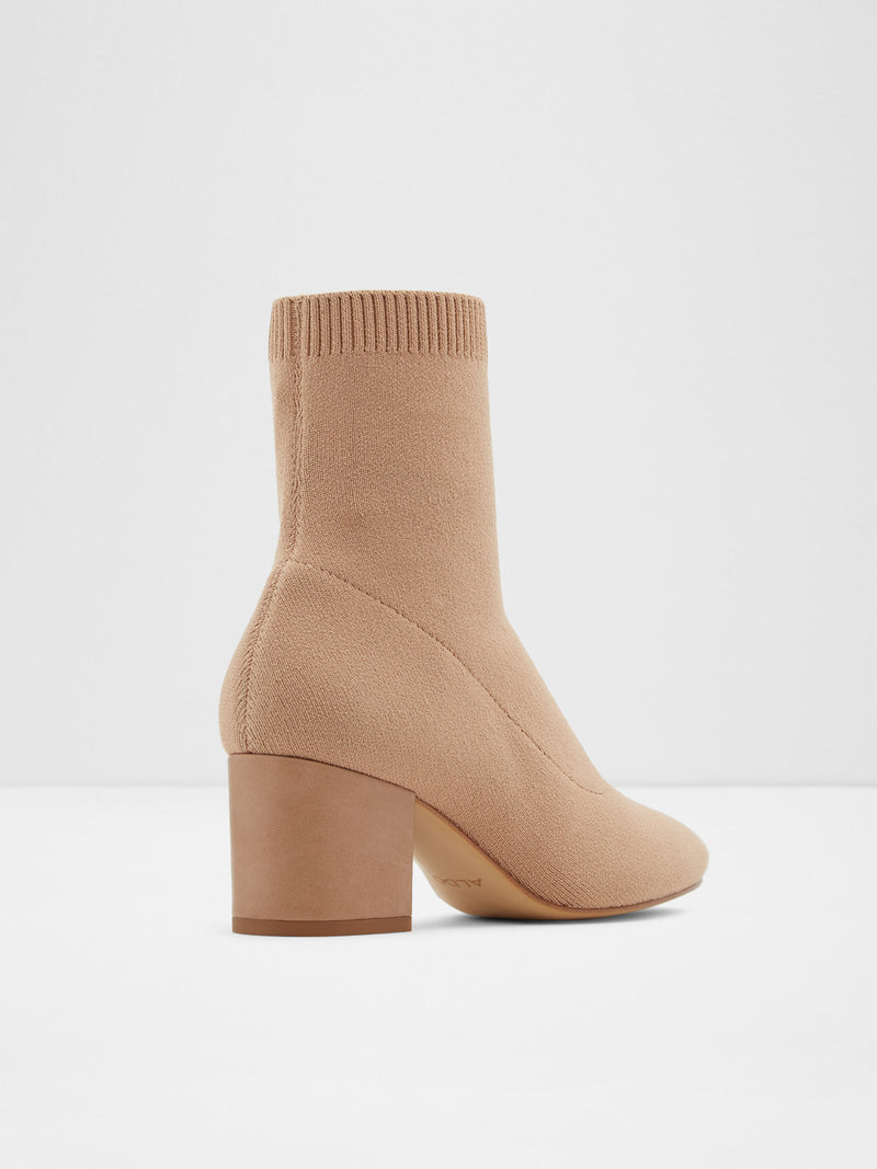Beige Sock Ankle Boots