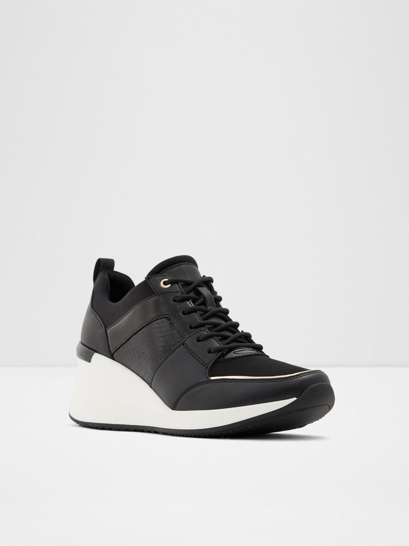 Aldo Black Wedge Trainers