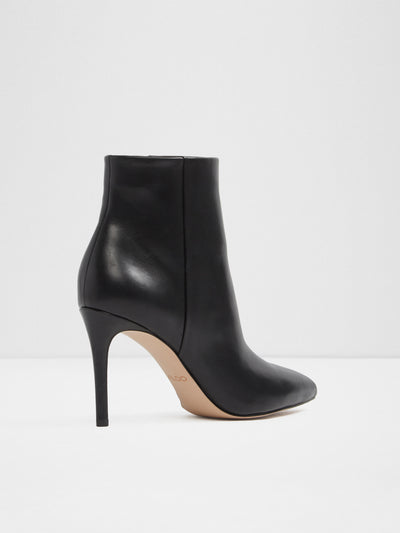 Aldo Black Leather Zip Up Ankle Boots