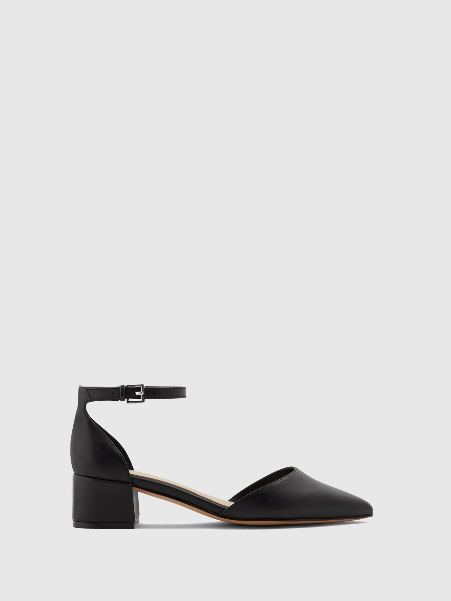Aldo Black Leather Ankle Strap Shoes