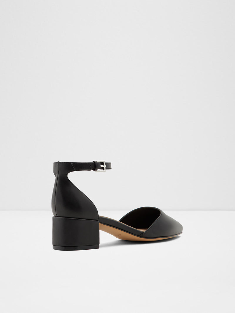 Black Leather Ankle Strap Shoes