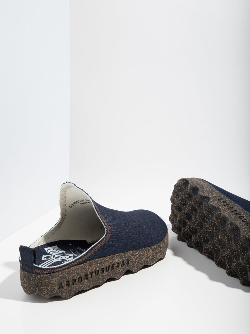 Navy Closed Mules