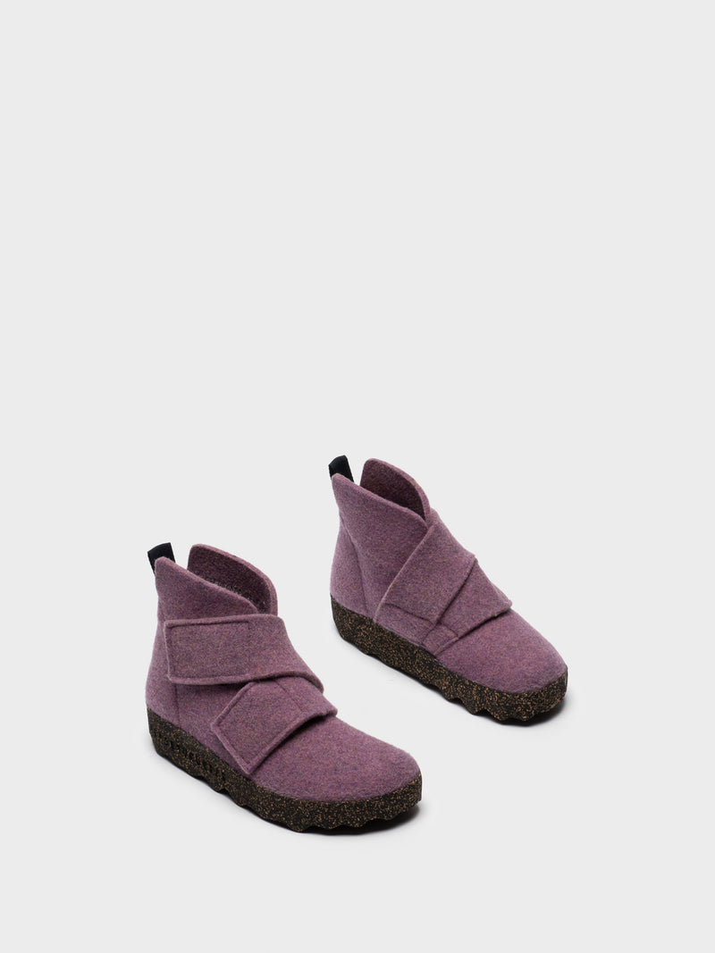 Purple Round Toe Boots