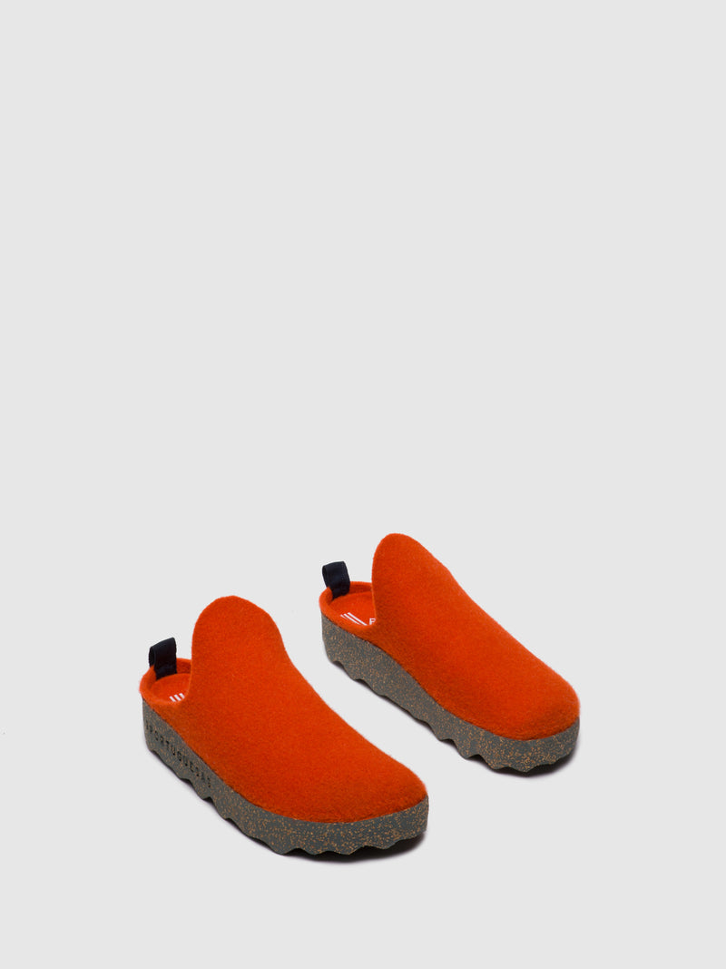 Round Toe Mules COME L Orange