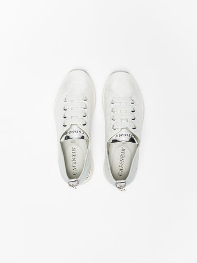 Cafè Noir Silver Lace-up Trainers
