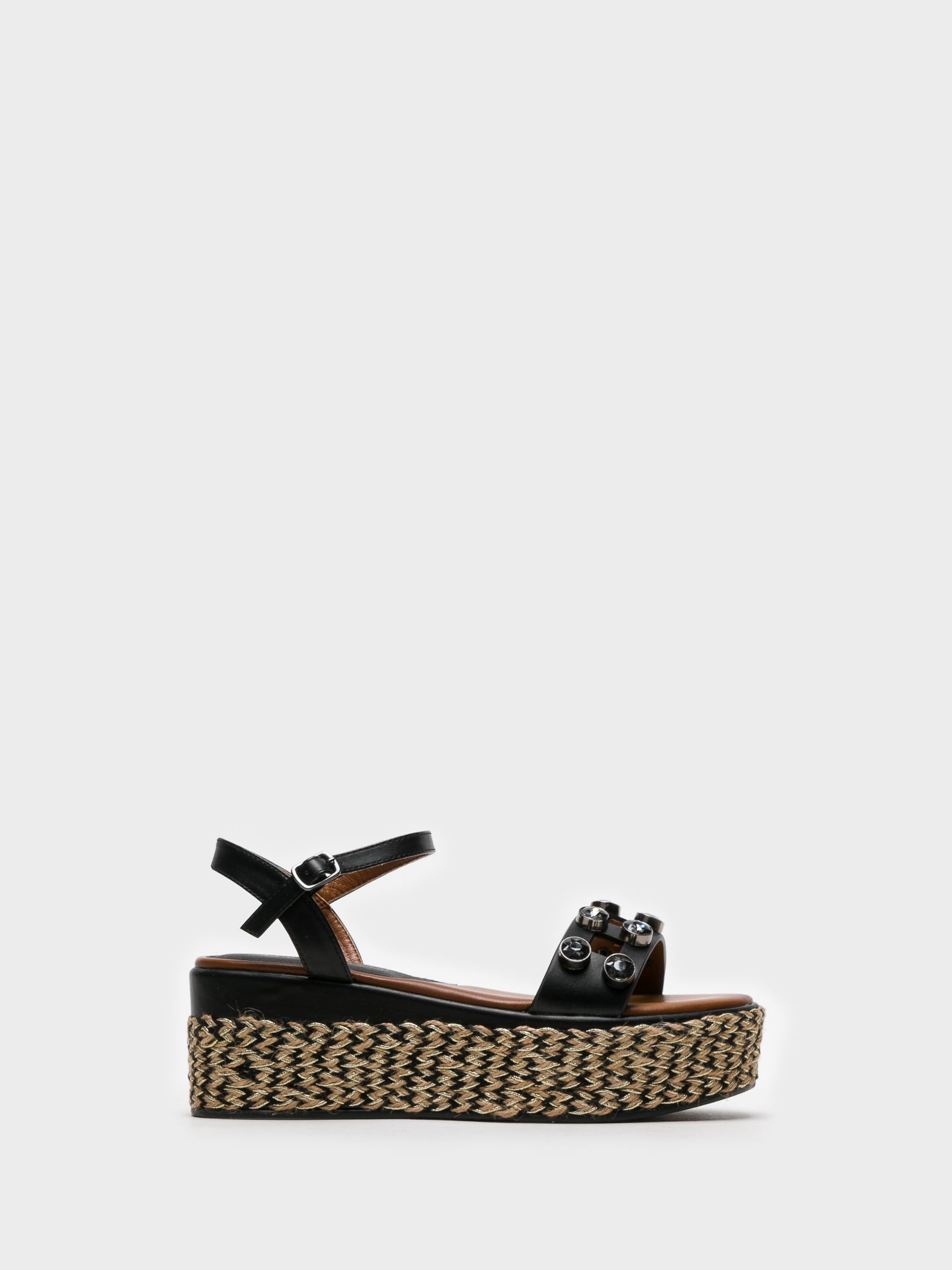 Cafè Noir Black Buckle Sandals