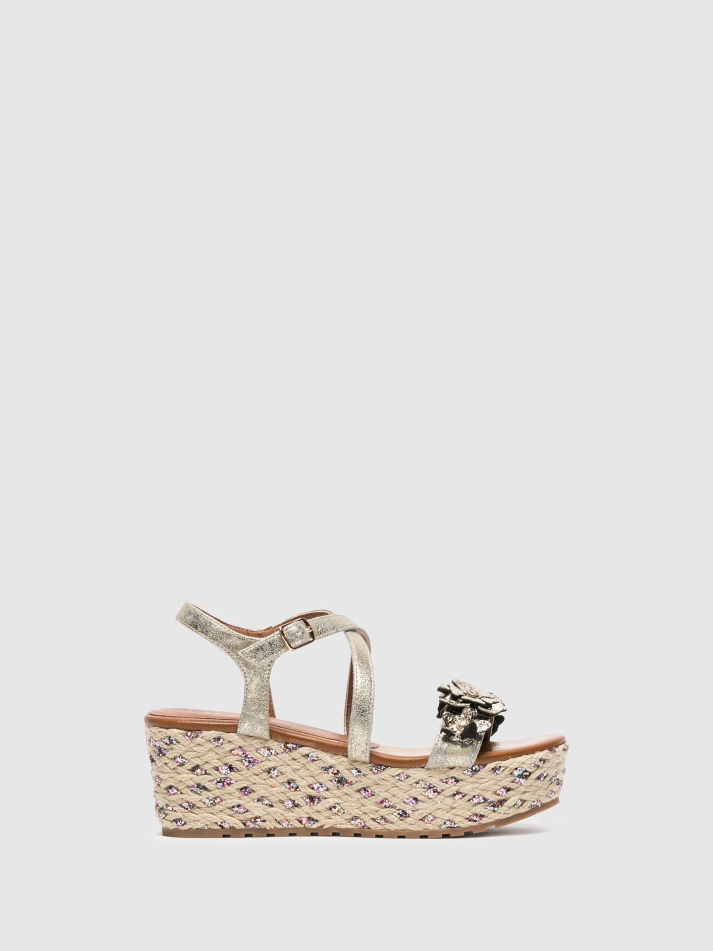 Cafè Noir Gold Wedge Sandals