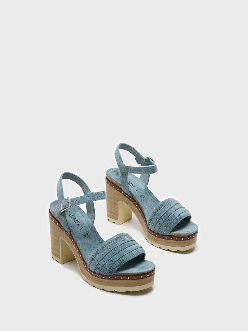 Blue Chunky Heel Sandals