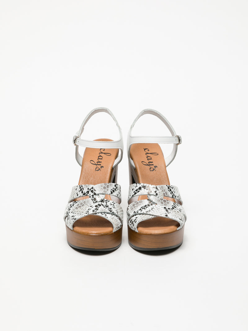 Clay's White Buckle Sandals