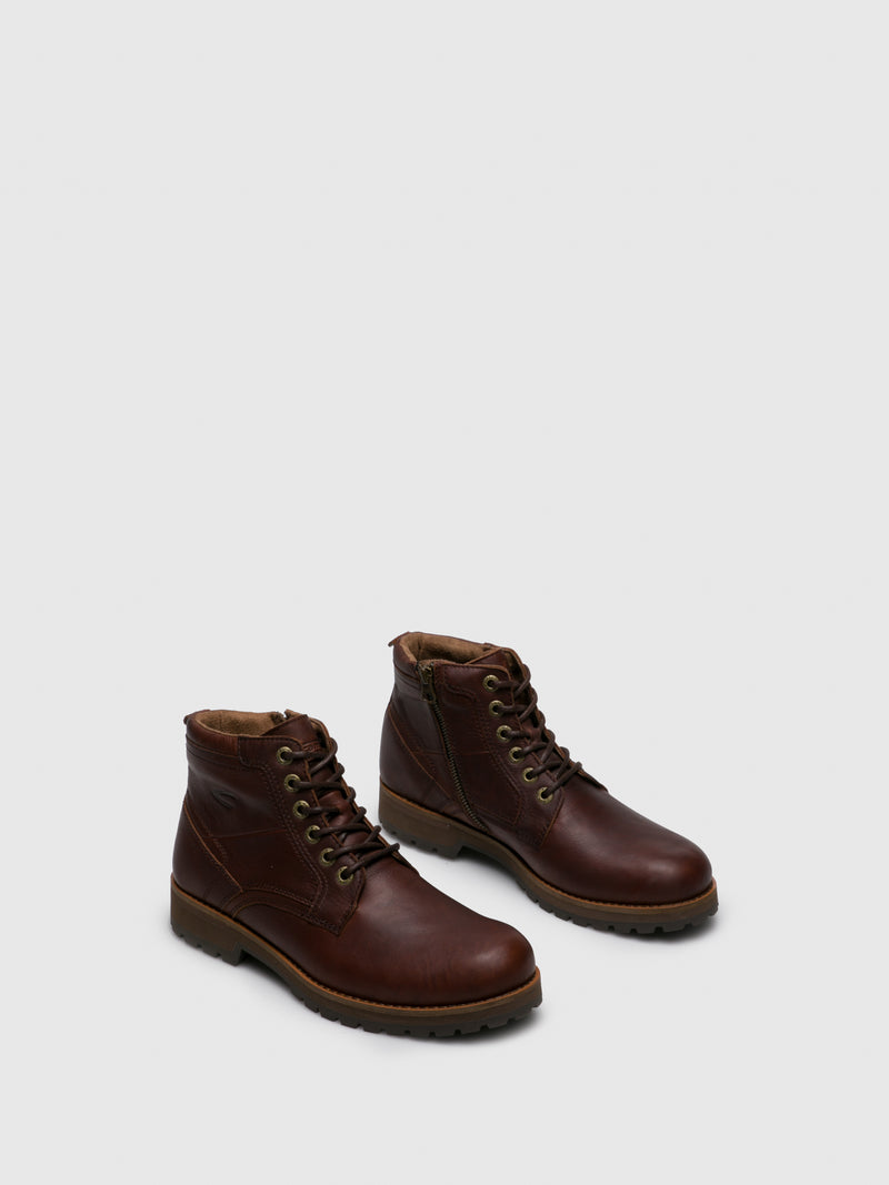 Brown Leather Lace-up Boots