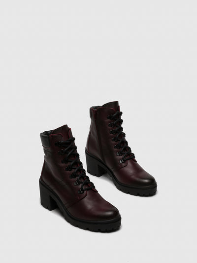 Carmela Crimson Zip Up Ankle Boots