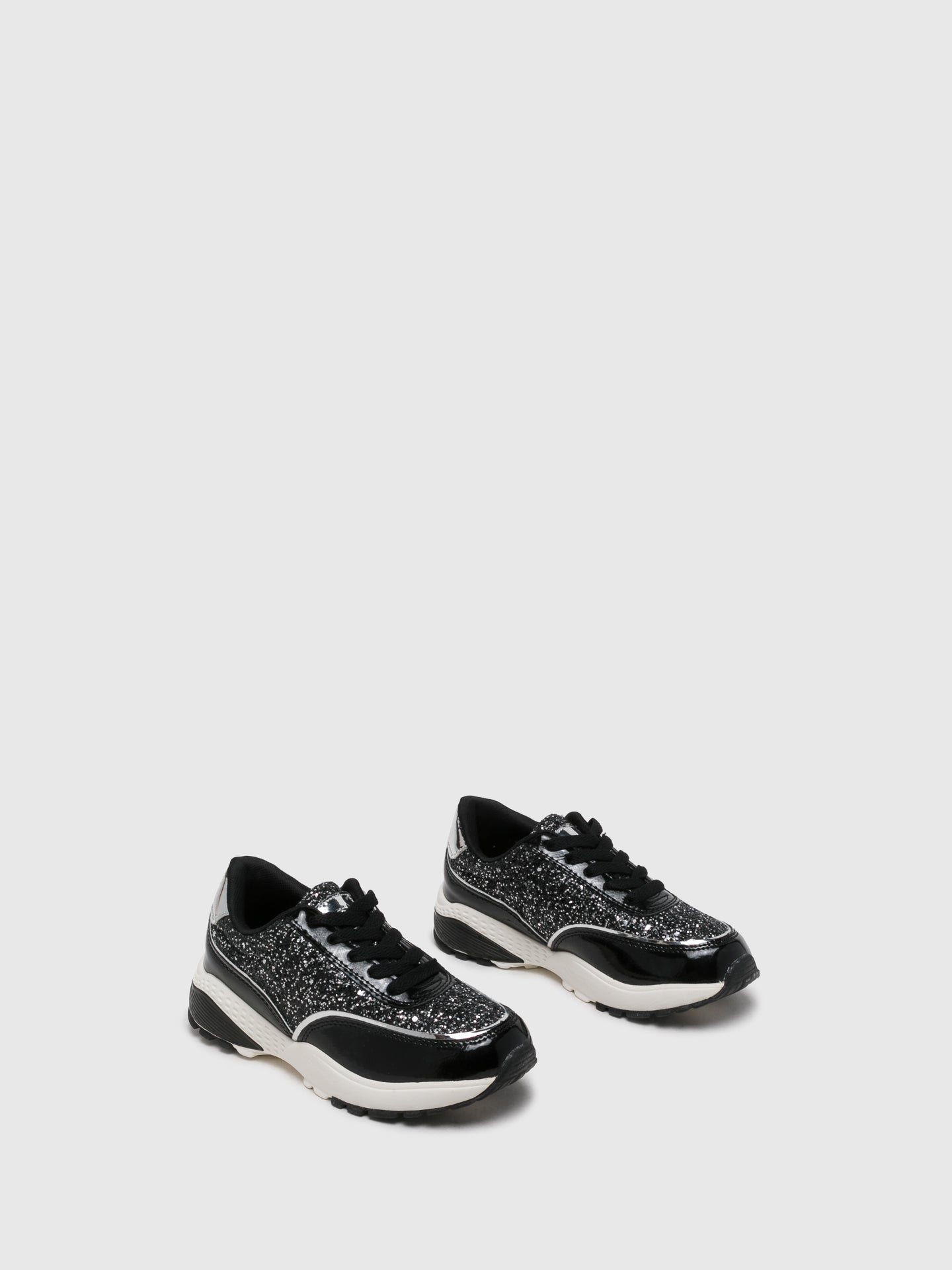 Conguitos Silver Black Lace-up Trainers