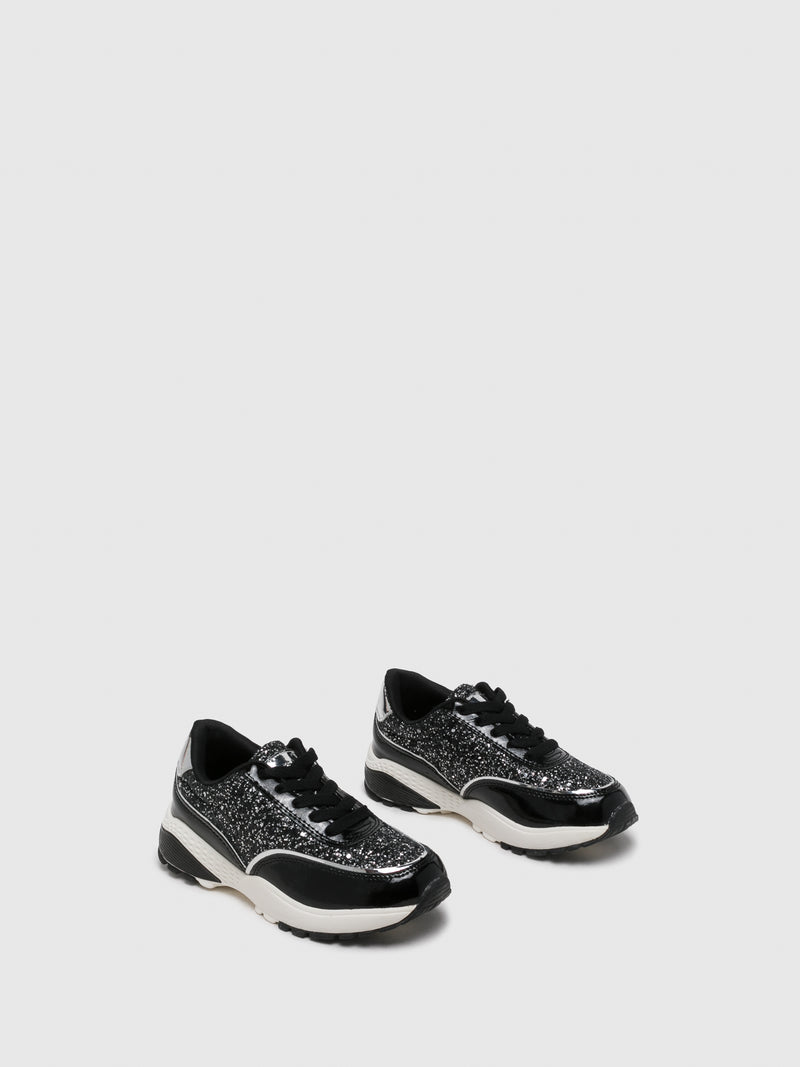 Silver Black Lace-up Trainers