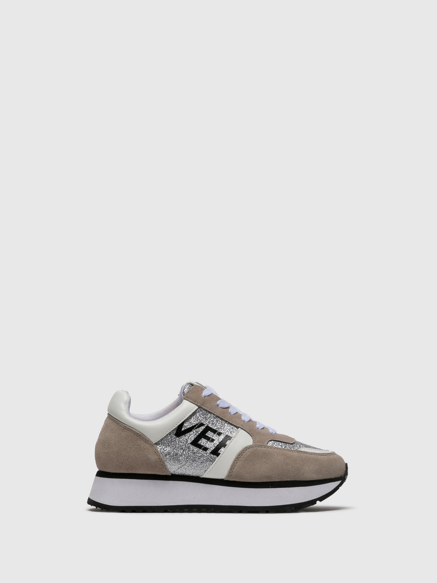 EMANUÉLLE VEE Tan White Lace-up Trainers