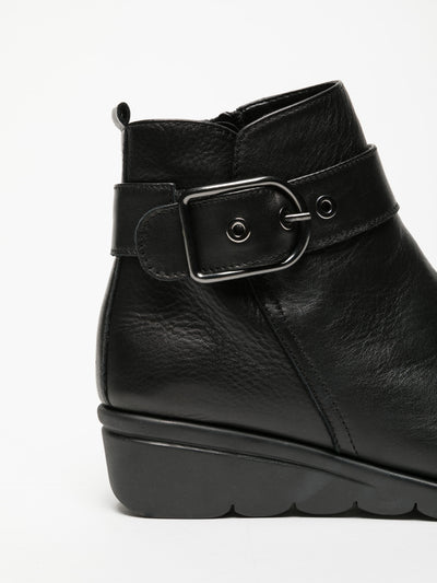 The Flexx Black Buckle Ankle Boots