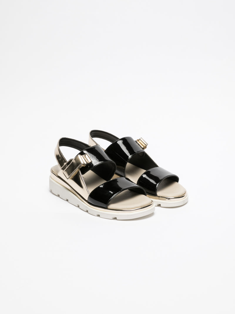 The Flexx Black Sling-Back Sandals