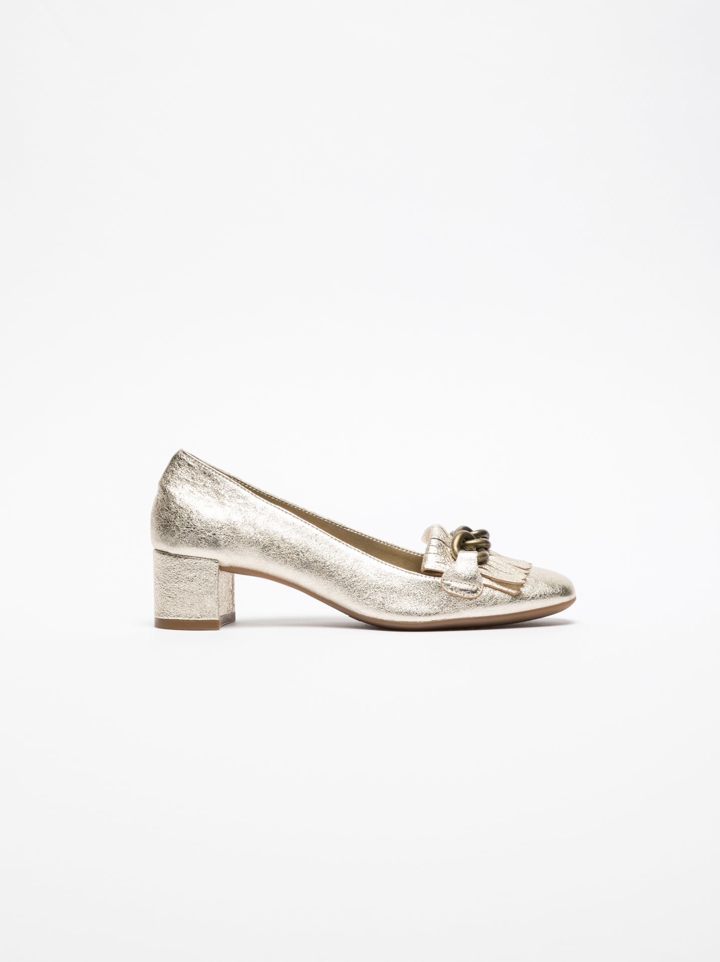 The Flexx Gold Block Heel Shoes