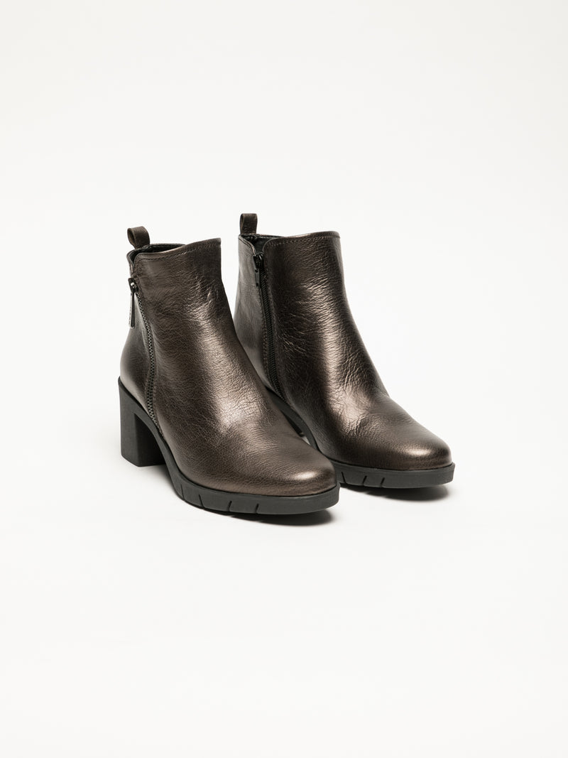 SandyBrown Zip Up Ankle Boots