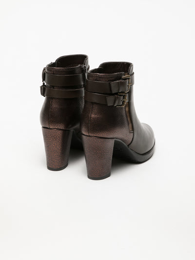 The Flexx Brown Buckle Ankle Boots