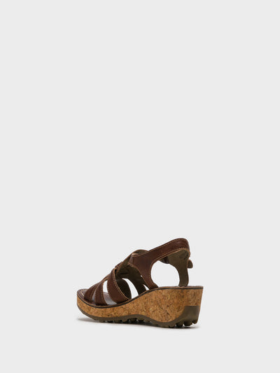 Fly London Tan Buckle Sandals