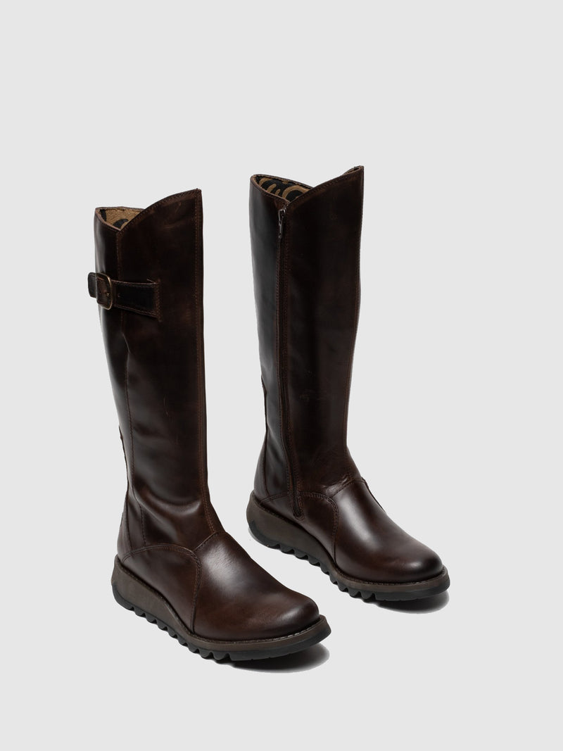 Brown Leather Zip Up Boots
