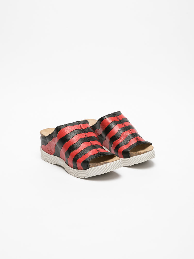 Fly London Red Black Open Toe Mules