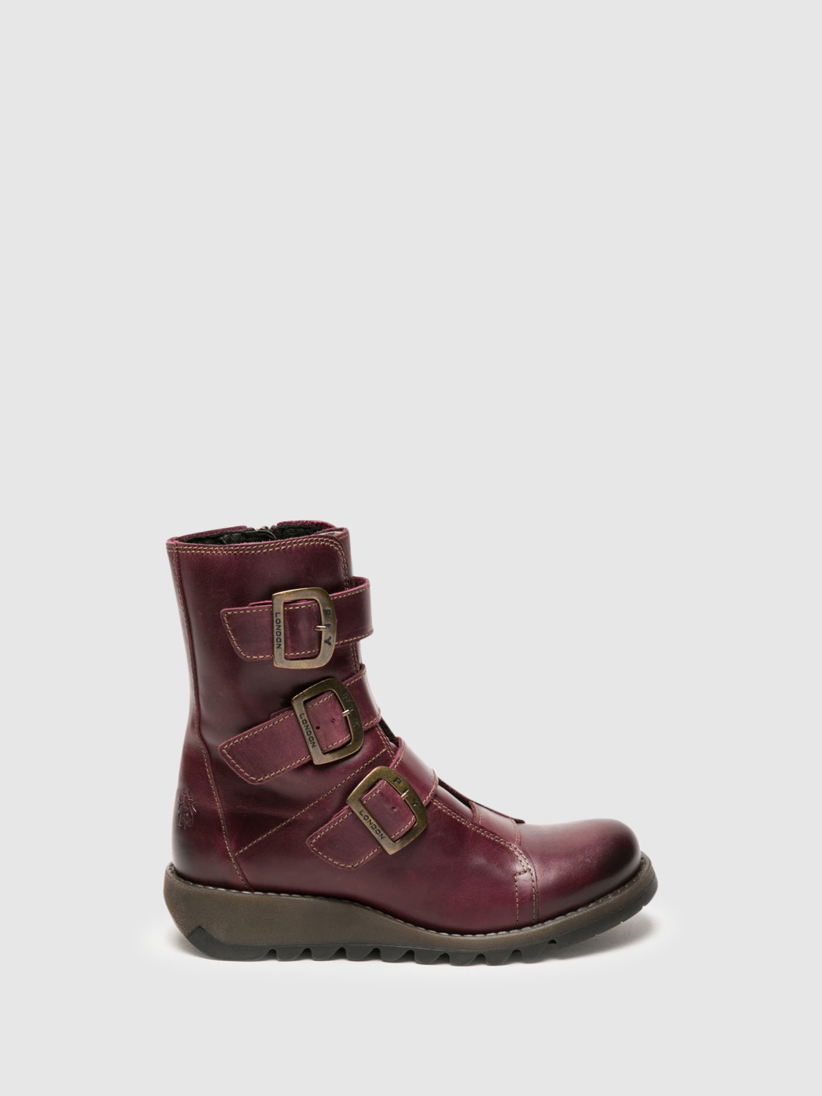 Fly London Purple Buckle Ankle Boots