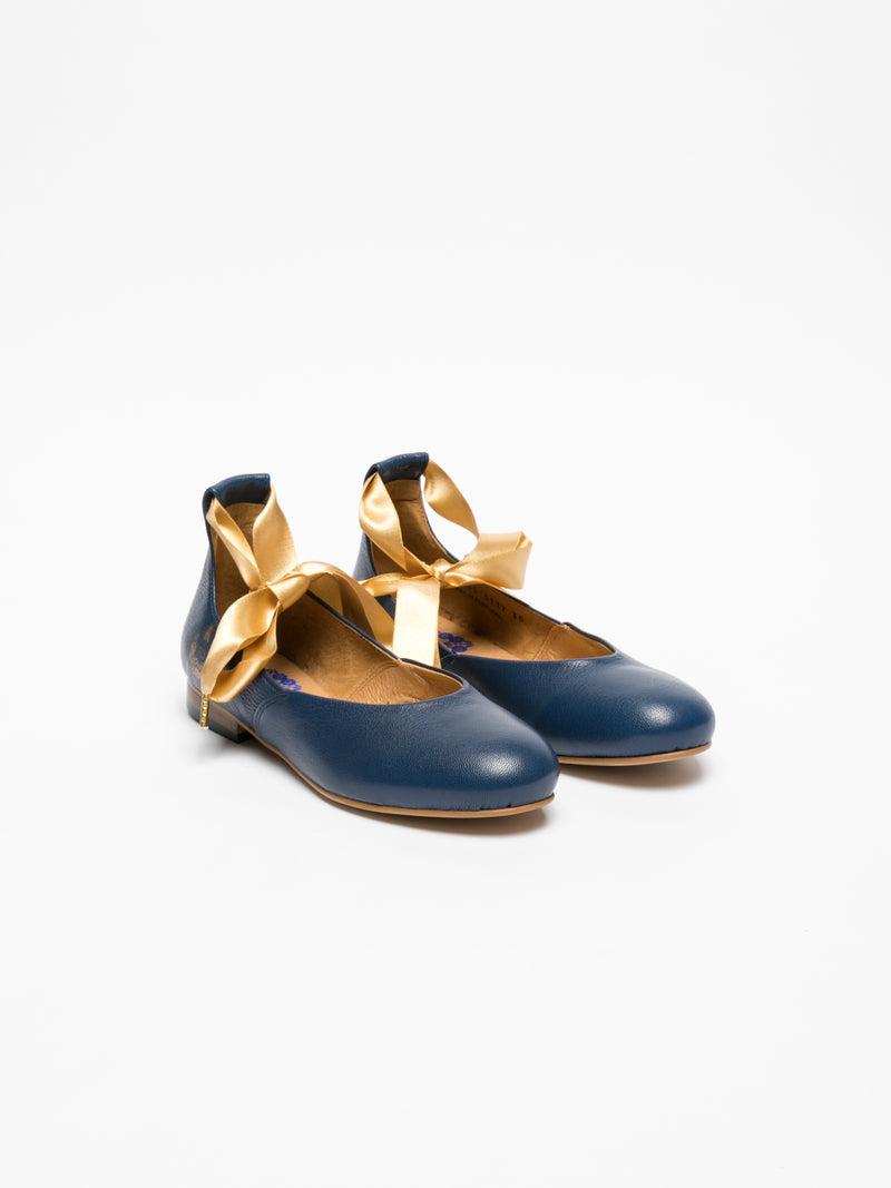 Blue Lace-up Ballerinas