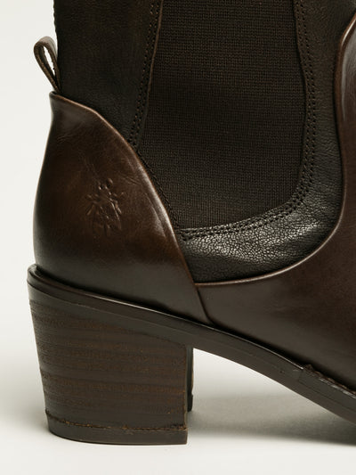 Fly London Brown Elasticated Ankle Boots