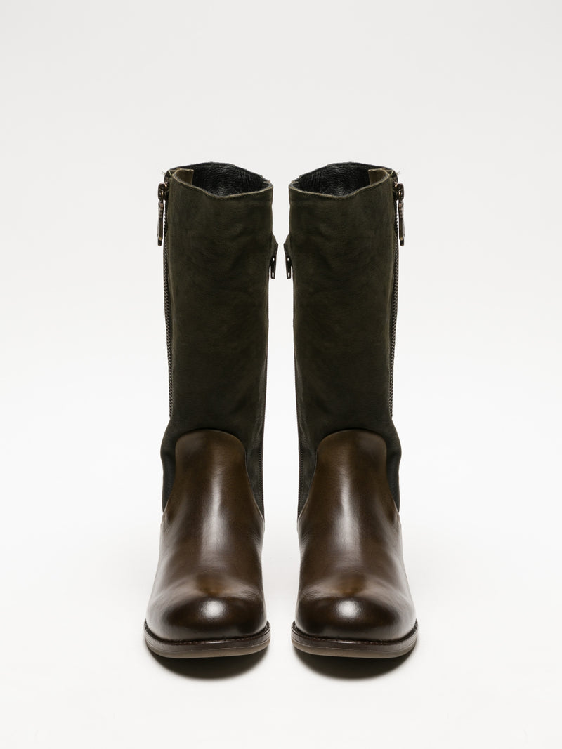 Fly London Khaki Zip Up Boots