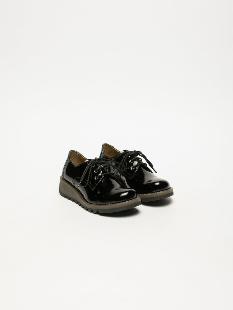 Carbon Black Lace Fastening Shoes