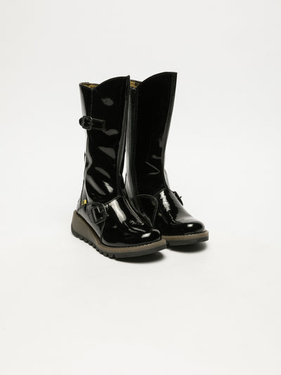 Fly London Coal Black Buckle Boots