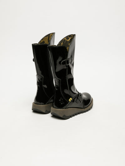 Fly London Gloss Black Buckle Boots