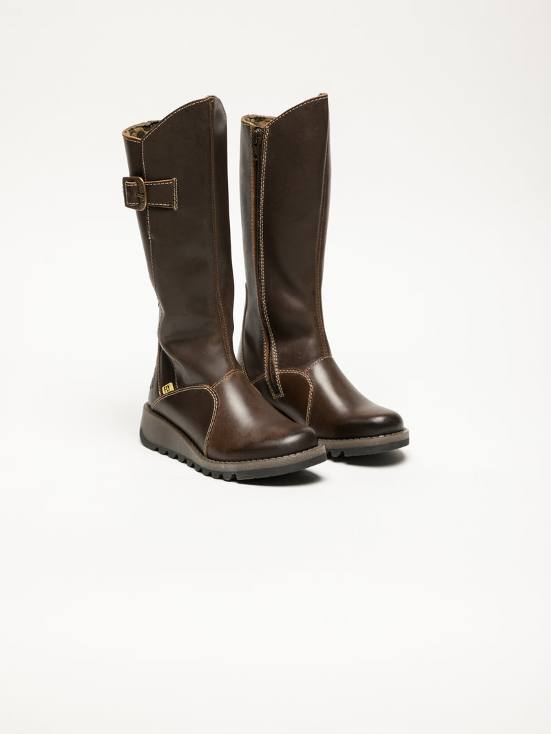 Brown Buckle Boots