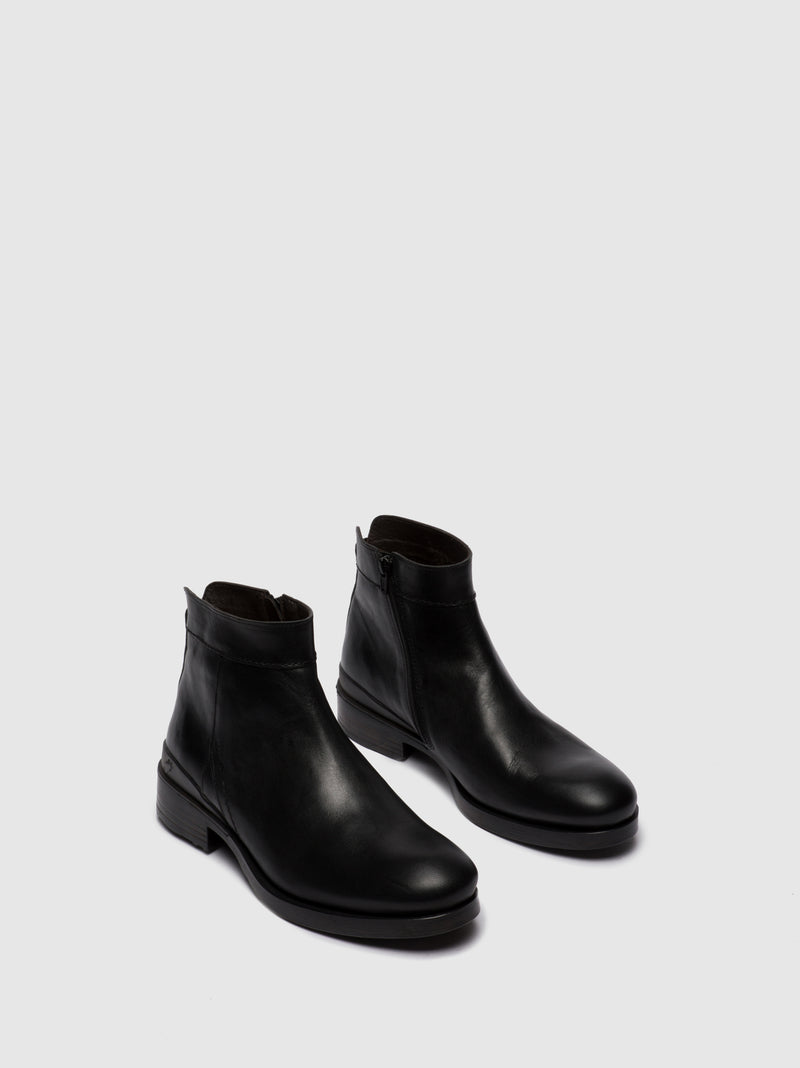 Fly London Zip Up Ankle Boots MIBO345FLY ESTIGMA(VEGETAL) BLACK