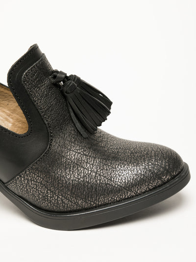Fly London Coal Black Block Heel Shoes