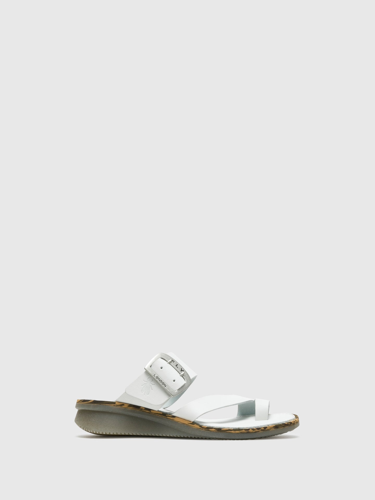 Fly London White Round Toe Mules
