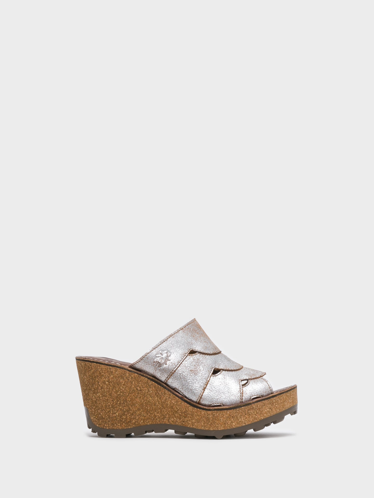 Fly London Beige Wedge Mules