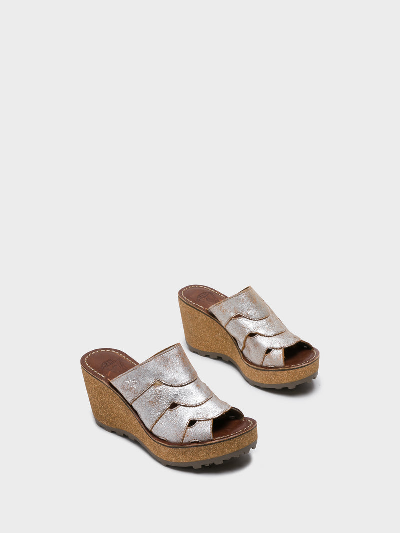 Beige Wedge Mules